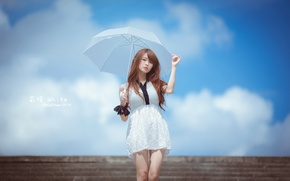 Picture girl, style, umbrella, Asian