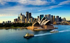 Picture sea, the sky, clouds, ship, the evening, theatre, Opera, Australia, Sydney