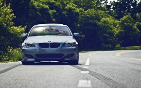 Wallpaper road, tuning, BMW, car, front, five, BMW 5 Series