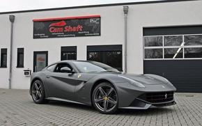 Picture the building, Ferrari, silver, berlinetta, Berlinetta, F12, the ferrari f12, cam shaft
