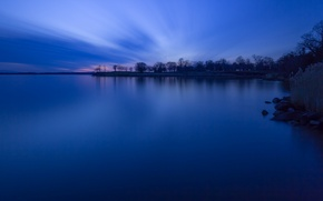 Wallpaper trees, shore, Forest, lake, the evening, twilight, blue, the sky, sunset