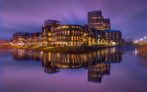Picture the sky, night, the city, reflection, river, building, home, backlight, Netherlands, purple, Amersfoort
