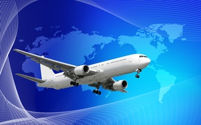 Wallpaper passenger, vector, background, the plane, continents, white, strip, blue, map