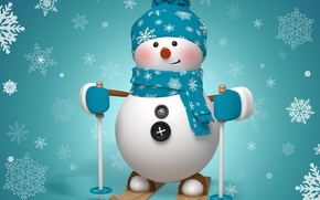 Picture new year, Christmas, winter, snow, snowman, snegovi