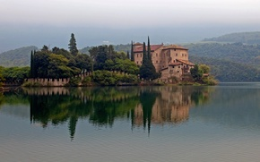 Picture forest, lake, house, hills, Italy