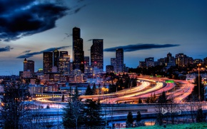 Picture the sky, clouds, night, skyscraper, home, USA, downtown, seattle, highway