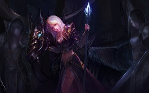 Picture crystal, girl, darkness, armor, staff, WoW, World of Warcraft, Jaina Proudmoore, art by Chenbo