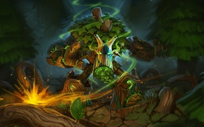 Picture forest, trees, magic, anger, art, Dota 2, Treant Protector