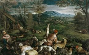 Picture animals, landscape, mountains, people, picture, Spring, genre, Francesco Bassano