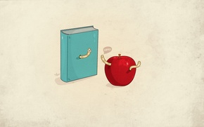 Wallpaper Apple, minimalism, book, worms