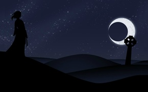 Picture loneliness, black, desert, Night, The moon, silhouette, Eclipse, headstone