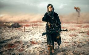 Picture girl, weapons, machine, sniper, Blackbird