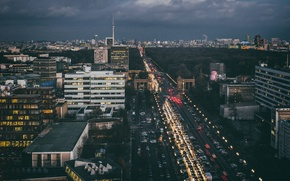 Picture transport, Avenue, Germany, twilight, cars, Berlin, city center, rainy, TV tower