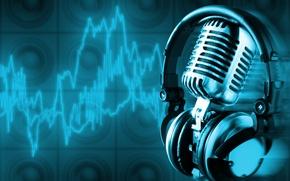 Picture music, headphones, microphone