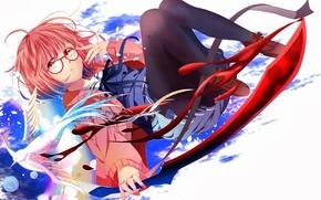 Picture girl, glasses, Anime, art, beyond, kyoukai no kanata, mirai kuriyama