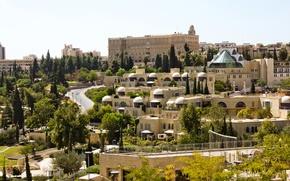 Picture trees, home, architecture, Jerusalem, Israel, Jerusalem
