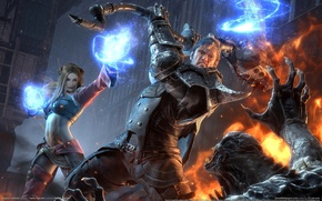 Picture girl, magic, man, monster, fight, Knights Contract