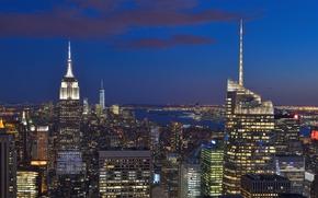 Picture building, New York, panorama, night city, Manhattan, skyscrapers, Manhattan, New York City