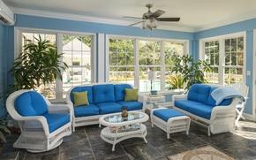 Picture chairs, sofa, veranda, furniture, Windows