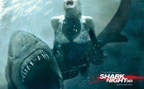Wallpaper water, shark, horror, jaws in 3d, girl