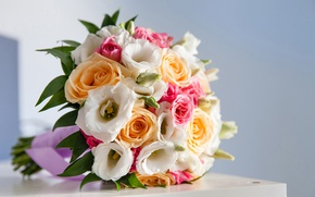 Picture roses, colorful, gentle, beautiful, Roses, lovely, wedding, eustoma, Bouquets, Eustoma