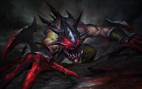 Picture blood, monster, teeth, art, claws, Dota 2, Lifestealer