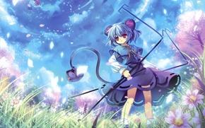 Picture flowers, girls, Sakura, mouse, day, tail, ears, touhou, art, hakurei reimu, capura lin, nazrin