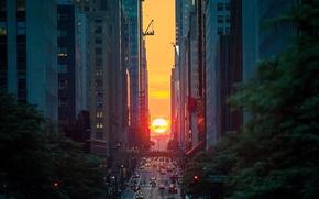 Wallpaper the sun, sunset, the city, street, home, the evening, USA, New York