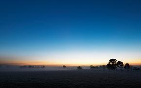 Wallpaper field, the sky, fog, plain, twilight