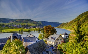 Picture mountains, river, home, Germany, town, landscape., Beilstein