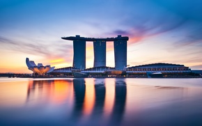 Picture the sky, water, reflection, dawn, building, Bay, the hotel, architecture, Singapore, singapore