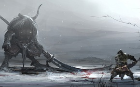 Wallpaper winter, snow, weapons, blood, monster, warrior, art, horns, battle