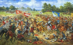 "Wallpaper artist Arthur Orlinov, canvas, picture, oil, 1410 year"", ""Galician banners in the battle of Grunwald"