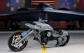 Picture the plane, grey, Motorcycle, invisible, custom
