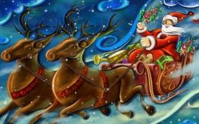 Picture figure, new year, Santa Claus, deer