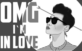 Picture girl, love, Cupid, glasses, arrow, love, shock