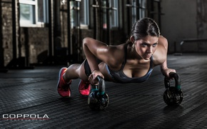 Picture female, workout, fitness, pushups