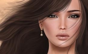 Picture girl, face, hair, portrait, brunette, earring