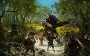 Picture trees, people, the fence, Forest, hammer, bow, swords, shields, Troll