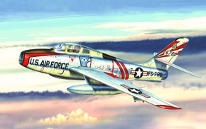 Picture war, art, painting, aviation, jet, Republic F-84 Thunderjet