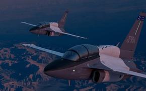 Wallpaper Lockheed Martin, pilots, cabin, flight, T-50A, landscape, combat training, the evening, the plane