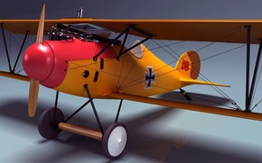 Picture retro, the plane, rendering, speed, visualization, art, the ceiling, two, power, biplane, Germany, machine gun, …