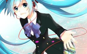 Picture girl, hand, anime, headphones, art, wire, schoolgirl, bow, Hatsune Miku, Vocaloid, Vocaloid