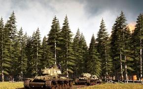 "Picture road, forest, the sky, trees, column, KV-1, tanks, ""Klim Voroshilov"""