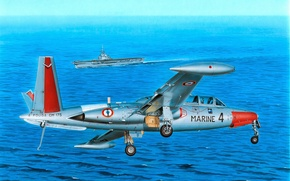 Picture art, painting, jet, Fouga Magister