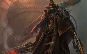 Wallpaper weapons, mechanism, hat, warrior, spikes, couples, cloak, Steampunk