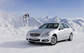Picture winter, snow, mountains, machine, nature, Mercedes, auto, mercedes-benz e class 4matic