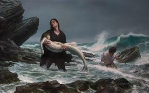 Picture sea, storm, mermaid, picture, fishermen, Donato Giancola