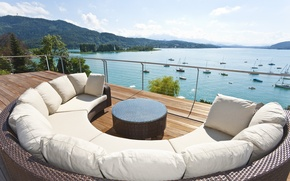 Picture mountains, lake, stay, view, relax, balcony, terrace