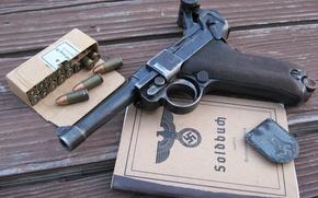 Wallpaper gun, cartridges, document